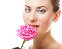 beautiful  young woman with pink rose Stock Photo