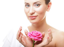 beautiful  young woman with pink rose Stock Photos
