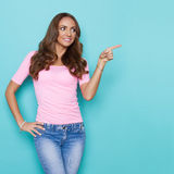 Beautiful Young Woman In Pink Shirt Notice Royalty Free Stock Photos