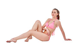 Beautiful young woman in pink swimwear Stock Photos