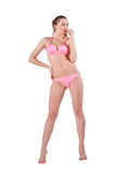 Beautiful young woman in pink swimwear Stock Photography