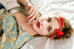 Beautiful young woman pinup girl with red lipstick Royalty Free Stock Photography