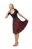 Beautiful young woman in plaid dress isolated on Royalty Free Stock Photos
