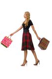 Beautiful young woman in plaid dress isolated on Stock Photography