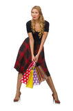 Beautiful young woman in plaid dress isolated on Royalty Free Stock Photography
