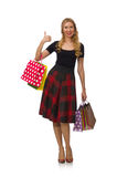 Beautiful young woman in plaid dress isolated on Stock Image