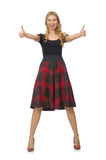 Beautiful young woman in plaid dress isolated on Stock Photos