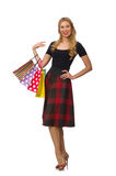 Beautiful young woman in plaid dress isolated on Royalty Free Stock Image