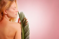 Beautiful young woman with plant. Over pink background stock photography