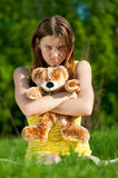 Beautiful young woman play with toy Royalty Free Stock Photography