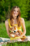 Beautiful young woman play with toy Royalty Free Stock Photos