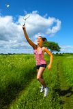 Beautiful Young Woman Playing Badminton. Summer Stock Images