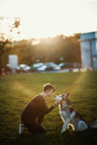 Beautiful young woman playing with funny husky dog outdoors in park at sunset  or sunrise. Beautiful young woman playing with funny husky dog Royalty Free Stock Photos