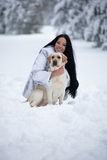 Beautiful young woman playing with labrador dog Stock Image