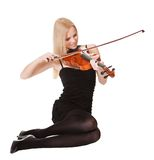 Beautiful young woman playing violin Stock Photos
