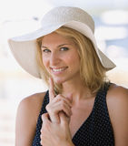 Beautiful young woman pointing Royalty Free Stock Photo