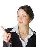 Beautiful young woman pointing finger Royalty Free Stock Photos