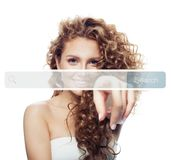Beautiful Young Woman Pointing To Empty Address Bar In Virtual Web Browser Stock Photo