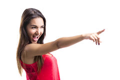 Beautiful woman pointing to something Stock Photo