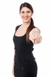 Beautiful young woman pointing at you Royalty Free Stock Images