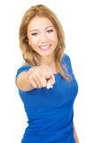 Beautiful young woman pointing on you. Royalty Free Stock Photography