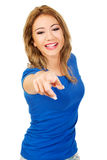 Beautiful young woman pointing on you. Stock Photography
