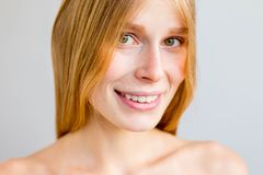 Beautiful young woman. A portrait of a beuatiful young woman with clean skin stock photos