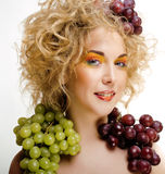 Beautiful young woman portrait excited smile with fantasy art hair makeup style, fashion girl with creative food fruit Royalty Free Stock Photos