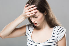 Beautiful young woman portrait Headache depression stressed tired Stock Photo