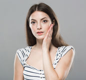 Beautiful young woman portrait Headache teeth ache stressed tired stock photos