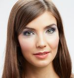 Beautiful young woman portrait isolated on studio background. Royalty Free Stock Images