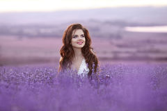 Beautiful young woman portrait in lavender field. Attractive bru Royalty Free Stock Images