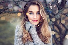 Beautiful young woman portrait in nature royalty free stock image