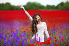 Beautiful young woman portrait in poppies field. Attractive brun Stock Images