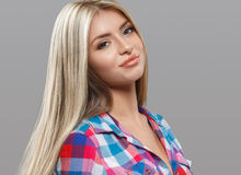 Beautiful young woman portrait posing attractive with amazing long blonde hair Royalty Free Stock Photos