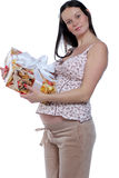 Beautiful young woman. Portrait of pregnant woman with gift boxes stock photography