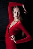Beautiful young woman portrait in red dress Stock Image