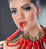 Beautiful young woman portrait with red hot and spicy peppers, fashion model with creative food vegetable make up stock photography