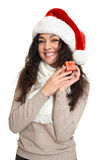 Beautiful young woman portrait  in santa helper hat posing on white Stock Photography