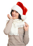 Beautiful young woman portrait  in santa helper hat posing on white Royalty Free Stock Images