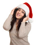 Beautiful young woman portrait  in santa helper hat posing on white Stock Image
