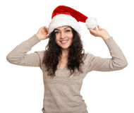 Beautiful young woman portrait  in santa helper hat posing on white Stock Photos