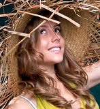 Beautiful young woman portrait with straw hat, Stock Images