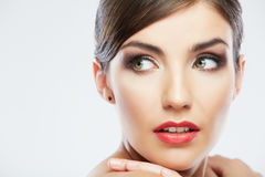 Beautiful young woman portrait   on studio backgro Royalty Free Stock Photography