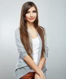 Beautiful young woman portrait  on studio background. Stock Image