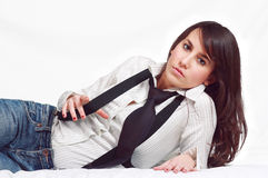 Beautiful young woman portrait with suspenders Royalty Free Stock Photography