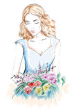 Beautiful young woman portrait. Woman with flowers. Sketch girl. Royalty Free Stock Images