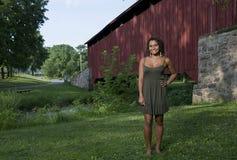 Beautiful young woman poses in sundress Stock Photos