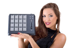 Beautiful young woman posing with audio equipment Stock Photos