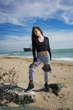 Beautiful young woman. Young woman posing on Black Sea shore in a spring day Royalty Free Stock Photo